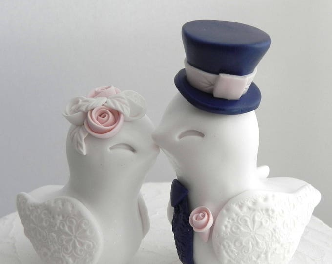 Love Birds Wedding Cake Topper, White, Dusty Pink and Navy Blue, Bride and Groom Keepsake, Fully Personalized