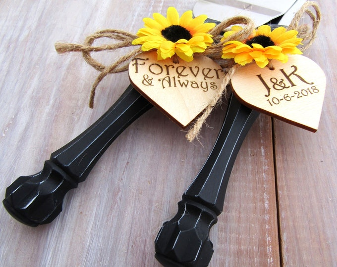 Forever and Always Rustic Chic Wedding Cake Server Knife, Set Black with Sunflower, Personalized Wood Hearts Bridal Shower Gift Wedding Gift