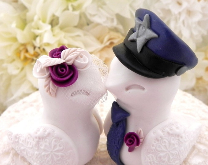 Police Love Birds Wedding Cake Topper, White, Plum Purple and Navy Blue, Bride and Groom Keepsake, Fully Personalized