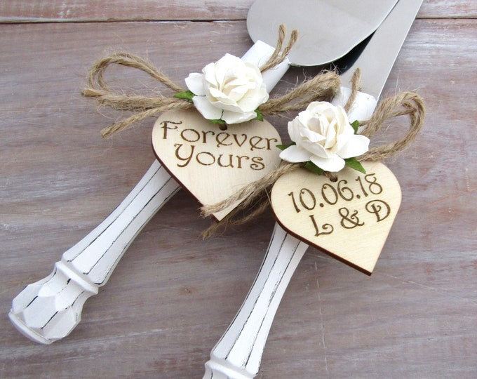 Forever Yours White Handles with White Flowers Custom Color Rustic Wedding Cake Server Set Personalized Bride and Groom Initials and Date