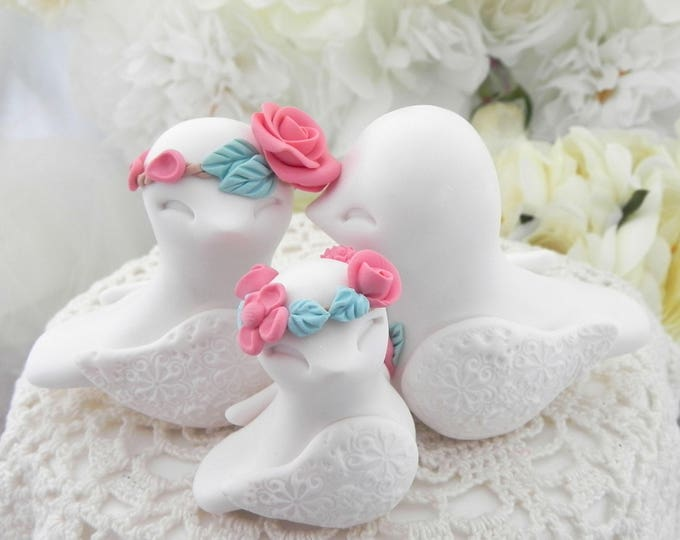 Family Love Birds Wedding Cake Topper, White, Coral and Mint Green - Bride and Groom Keepsake, Fully Custom