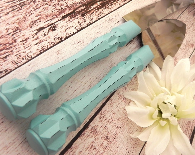 Robin Egg Blue Wedding Cake Server Knife Set Shabby Chic Beach Wedding Bridal Shower Gift Wedding Gift Cake Server Set Blue Wedding Server