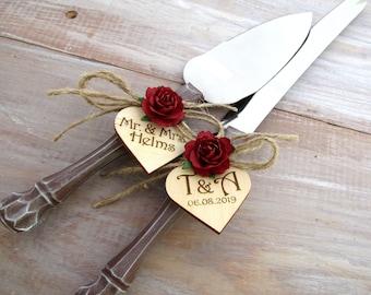 Rustic Wedding Cake Server Knife Set Wood Look Handles Burgundy Flowers Custom Mr. & Mrs. Personalized Hearts Bridal Shower Wedding Gift
