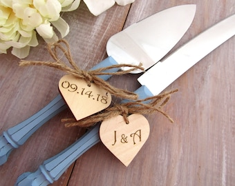 Rustic Chic Wedding Cake Server And Knife Set, Dusty Blue with Personalized Wood Hearts, Bridal Shower Gift, Wedding Gift