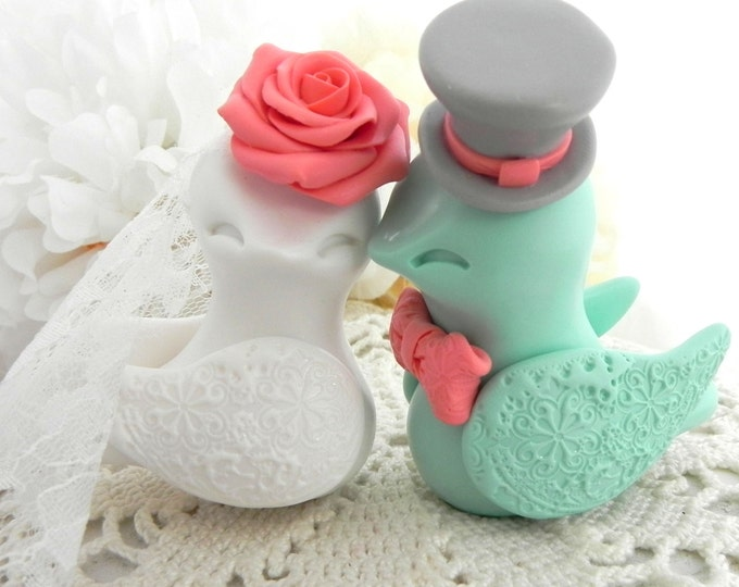 Love Birds Wedding Cake Topper, White, Coral, Mint Green and Grey, Bride and Groom Keepsake, Fully Personalized