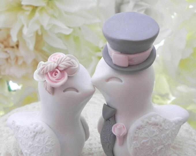 Love Birds Wedding Cake Topper, White, Blush Pink and Grey, Bride and Groom Keepsake, Fully Personalized