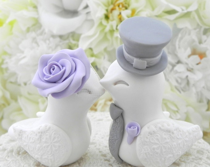 White, Lilac and Gray Love Birds Wedding Cake Topper Bride and Groom Keepsake, Fully Personalized