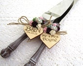 Rustic Wedding Cake Server Knife Set, Wood-look, Match Your Bridal Bouquet, Succulents and Roses, Personalized Wood Hearts, Wedding Gift