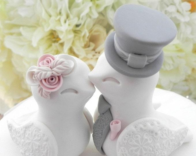 Love Bird Wedding Cake Topper White Dusty Pink Grey Bride Groom Keepsake Handmade Personalized Gift  Rustic Shabby Vintage You Choose Color