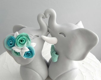 Wedding Cake Topper, Elephants in Love, Gray, Aqua and Mint, Bride and Groom Keepsake