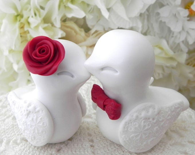 Love Birds Wedding Cake Topper, White and Red, Bride and Groom Keepsake, Fully Personalized