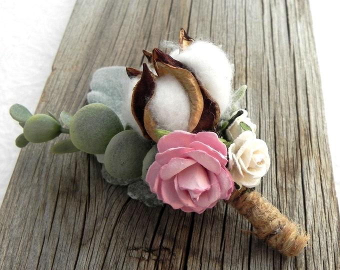 Rustic Cotton Boll Boutonniere, Cotton Boll Buttonhole, Country Wedding Boutonniere,  Rustic Wedding Bout, Groom Groomsmen Boutonniere