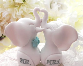 Elephant Wedding Cake Topper,White Elephants, Aqua Bowtie, Mr. & Mrs. Bride and Groom Keepsake, Fully Custom