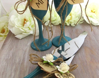 Rustic Chic Wedding Flute Glasses and Cake Server Set Teal and Ivory Flower Personalized Wood Hearts Bridal Shower and Wedding Gift Ideas