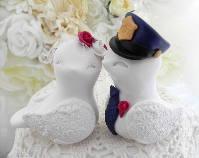 Police Wedding Cake Topper, Love Birds, White, Red and Navy Blue - Bride and Groom Keepsake