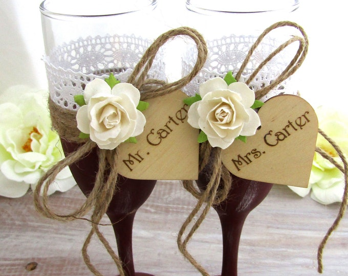 Mr. & Mrs. Rustic Chic Wedding Glasses Burgundy with Ivory Flower Personalized Wood Hearts  Toasting Flutes Bridal Shower Gift Wedding Gift