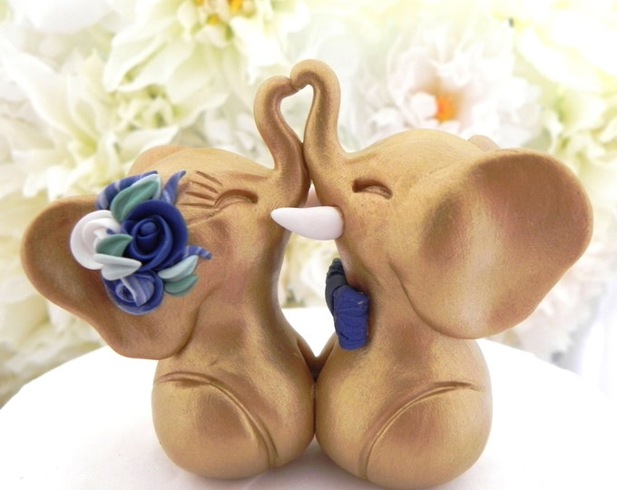 Wedding Cake Topper, Elephants in Love, Gold, Navy and White, Bride and Groom Keepsake