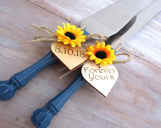 Forever Yours Rustic Wedding Cake Knife Server Set Navy Blue with a Sunflower Personalized Wood Hearts Bridal Shower Gift Wedding Gift