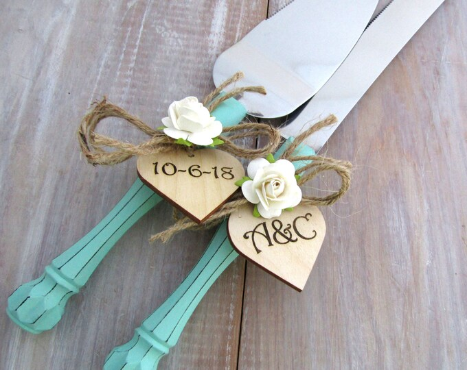 Rustic Chic Wedding Cake Server Knife Set Mint Green with White Flower Personalized Wood Hearts Bridal Shower Gift Wedding Gift