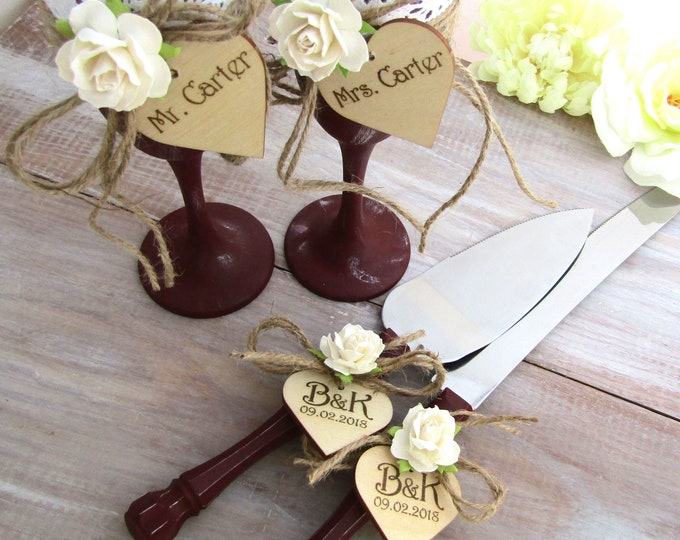 Rustic Chic Wedding Toasting Glasses and Cake Server Set Burgundy with Ivory Flower Personalized Wood Hearts Bridal Shower Gift Wedding Gift