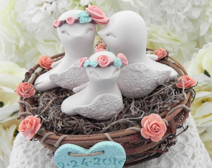 Cute Rustic Love Bird Family in a Nest with Personalized Wedding Date and Initials Heart. Beige, Peach, Mint Green Wedding Cake Topper Gift.