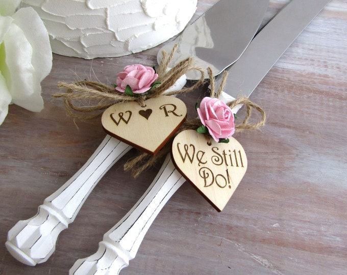 We Still Do - Rustic Wedding Cake Server and Knife Set with White Handles & Pink Roses or Your Custom Personalized Color Choice Wedding Gift