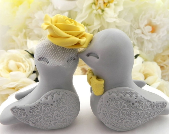 Love Birds Wedding Cake Topper, Grey and Sunny Yellow, Bride and Groom Keepsake, Fully Personalized