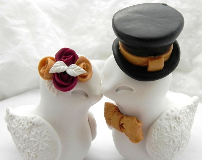 Love Birds Wedding Cake Topper, Ivory, Gold, Burgundy and Black, Bride and Groom Keepsake, Fully Customizable