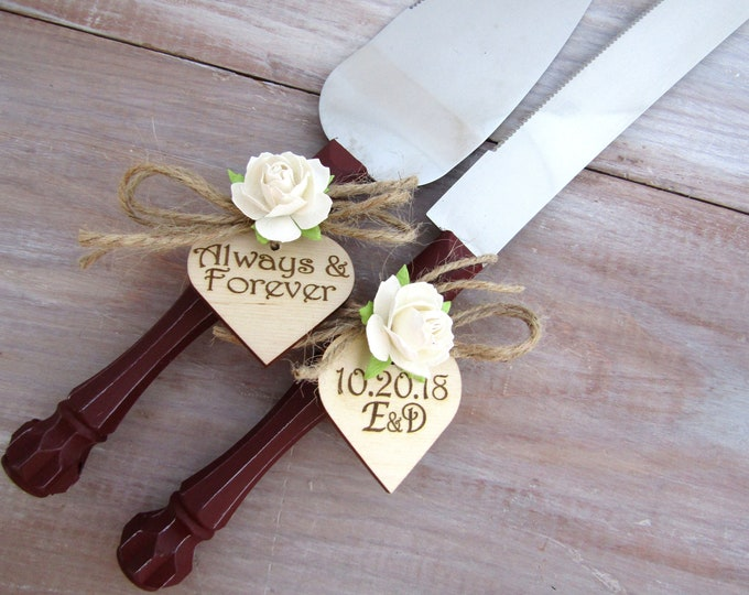 Always & Forever Burgundy with Ivory Flowers Custom Color Rustic Wedding Cake Server Set Personalized Bride and Groom Initials and Date