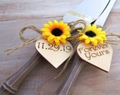 Rustic Chic Wedding Cake Server Knife Set Wood-Look with Sunflower Personalized Wood Hearts Forever Yours Bridal Shower Gift Wedding Gift