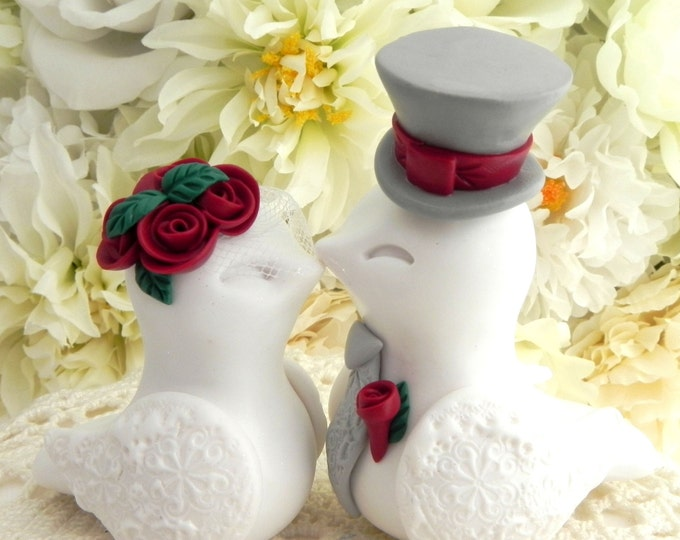 Love Birds Wedding Cake Topper, White, Deep Red, Green and Grey, Bride and Groom Keepsake, Fully Customizable