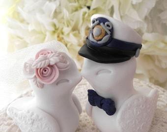 U.S. Coast Guard Wedding Cake Topper, Love Birds, Military Wedding, White, Navy and Blush Pink - Bride and Groom Keepsake