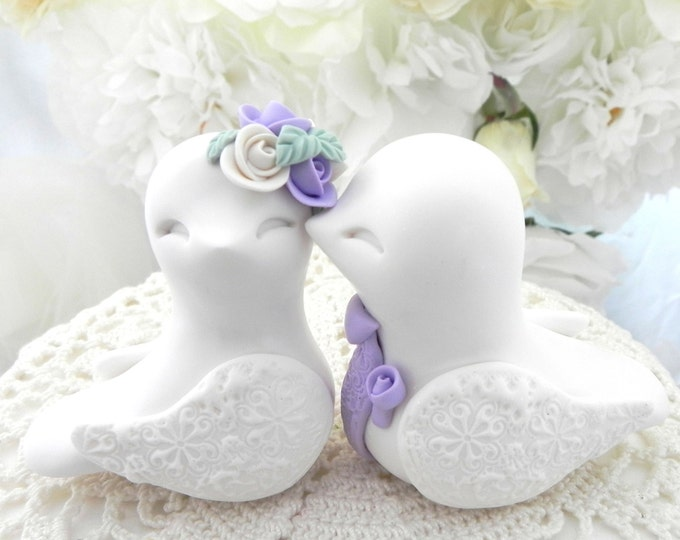 Love Birds Wedding Cake Topper, White and Lilac, Bride and Groom Keepsake, Fully Custom