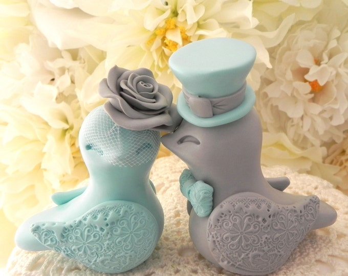 Aqua and Grey Love Birds Wedding Cake Topper Fully Personalized Bride and Groom Keepsake