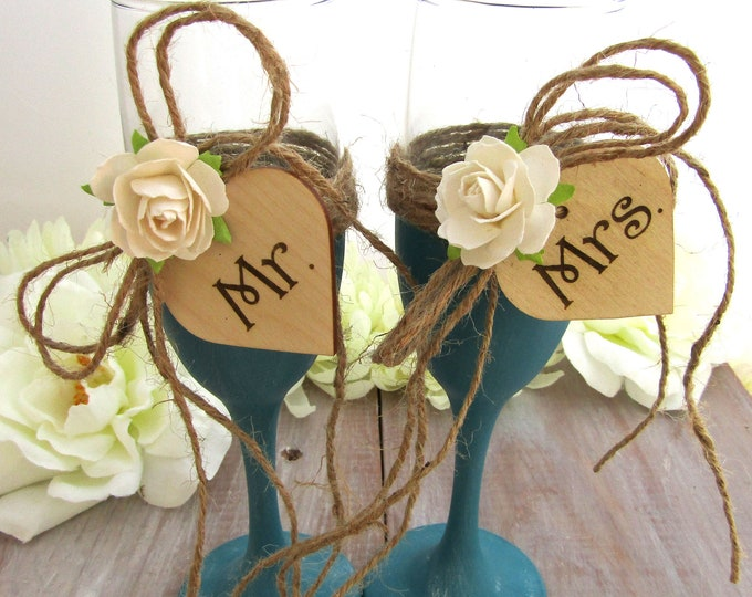 Mr. & Mrs. Rustic Chic Wedding Glasses Teal with Ivory Flower Personalized Wood Hearts  Toasting Flutes Bridal Shower Gift Wedding Gift