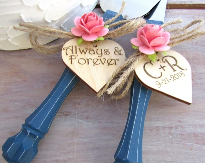 Always and Forever Rustic Chic Wedding Cake Server Knife Set Navy Blue with Coral Flower Custom Personalized Bridal Shower Country Wedding
