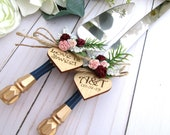 Wedding Cake Server Knife Set, Navy and Gold Handle, Match Your Bridal Bouquet, Greenery and Roses, Personalized Wood Hearts, Wedding Gift