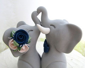 Wedding Cake Topper, Elephants in Love, Gray Navy and Blush Pink, Bride and Groom Keepsake