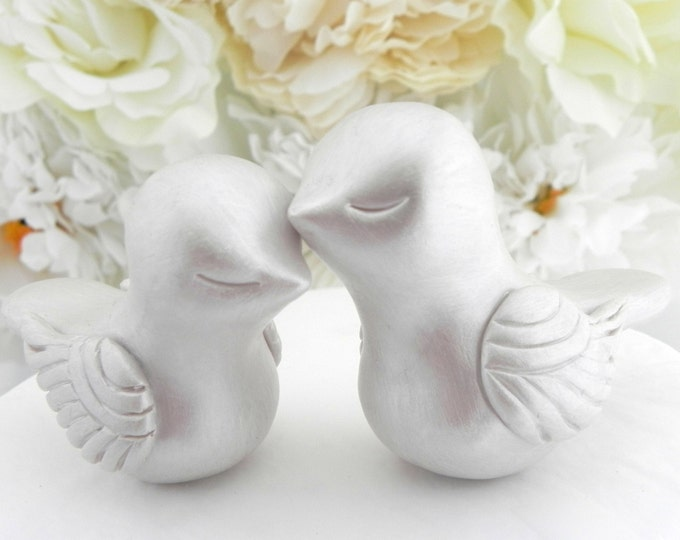 Love Bird Wedding Cake Topper, Mother of Pearl,  Bride and Groom, Keepsake, You Choose Colors