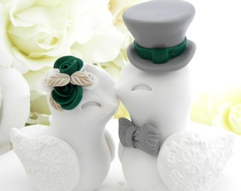 Love Birds Wedding Cake Topper, White, Dark Green and Grey, Bride and Groom Keepsake, Fully Personalized