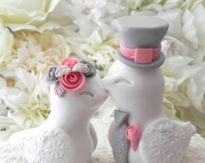Love Birds Wedding Cake Topper, White, Coral and Grey, Bride and Groom Keepsake, Fully Personalized