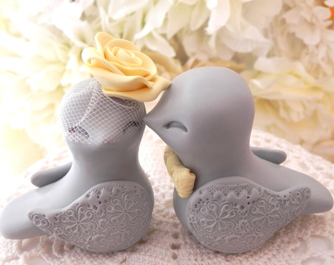 Love Birds Wedding Cake Topper, Grey and Yellow, Bride and Groom Keepsake, Fully Personalized