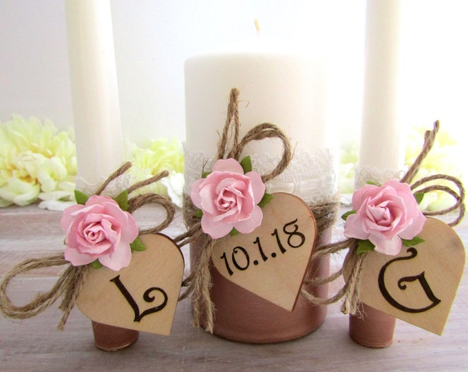 Rustic Wedding Unity Candle Set Rose Gold Blush Pink Flowers Personalized Wood Hearts Custom Candle Ceremony Bridal Shower Gift Wedding Gift