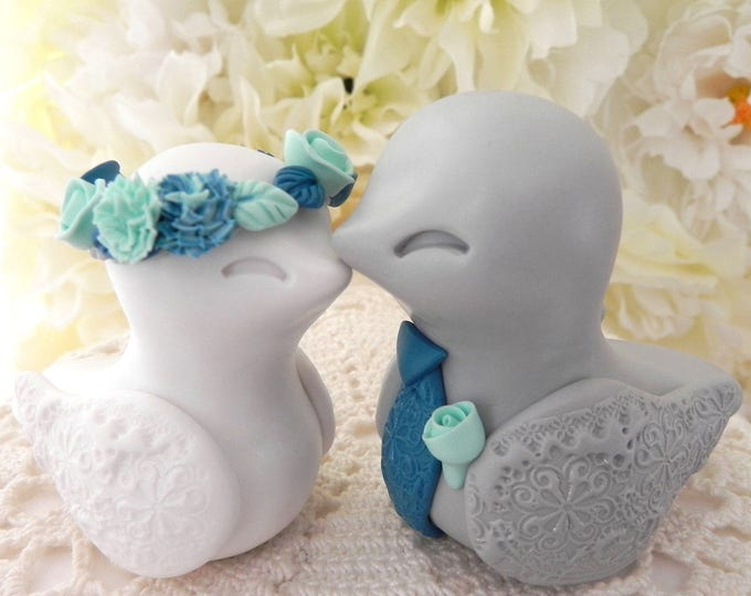 Love Birds Wedding Cake Topper, White, Grey, Teal and Aqua, Bride and Groom Keepsake, Fully Custom
