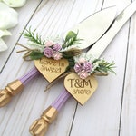 Wedding Cake Server Knife Set, Lilac and Gold Handle, Match Your Bridal Bouquet Personalized Wood Hearts Wedding Gift