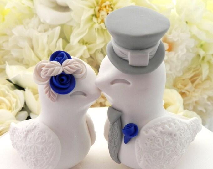 Rustic Wedding Cake Topper Love Birds Wedding Custom Wedding Cake Topper Rustic Cake Topper Royal Blue Wedding You Choose Colors