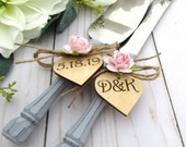 Rustic Chic Wedding Cake Server and Knife Set Gray Handles Blush Pin Flowers Personalized Wood Hearts Bridal Shower Gift Wedding Gift