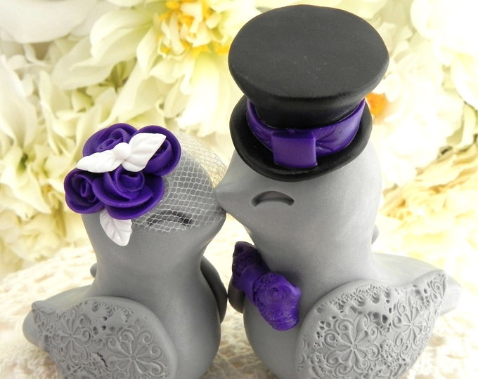 White, Purple, Black and Grey Love Birds Wedding Cake Topper Fully Personalized Bride and Groom Keepsake