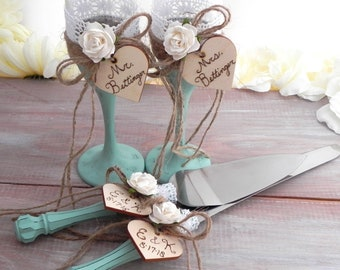 Rustic Chic Wedding Flute Glasses and Cake Server Set Mint and Ivory Flower Personalized Wood Hearts Bridal Shower and Wedding Gift Ideas