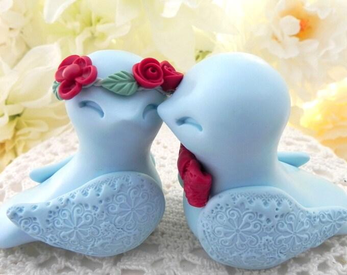 Love Birds Wedding Cake Topper, Light Blue, Red and Sage Green, Bride and Groom Keepsake, Fully Custom